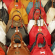 Colorful elegant leather hand bags — Stock Photo