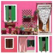 Vivid house facade collage, borgo Burano — Stock Photo