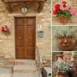 Idyllic front door collage — Foto Stock