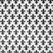 Pattern with  black lily symbols on white background — Foto Stock