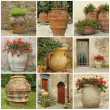 Collage with antique style  garden vases — Stock Photo