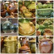 Glazed pottery collection — Stock Photo