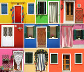 Burano colorful collage wall — Stock Photo