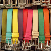 Colorful leather belts — Stock Photo