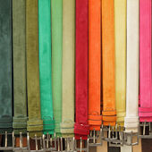 Colorful suede trouser belts — Stock Photo