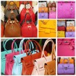Colorful leather handbags collection — Stockfoto