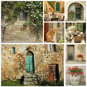 Beautiful old tuscan country house collage — Stock Photo