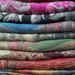 Pile of pashmina shawls — Stock Photo