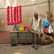 Man selling colorful flower garlands — Foto Stock