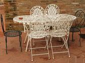 Metal garden furniture — Stock Photo