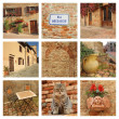 Beautiful tuscan borgo collage — Stock Photo