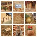 Beautiful tuscan borgo collage — Stock Photo