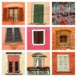 Lovely colorful old windows collage — Stock Photo