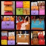 Leather handbags collage — Stock Photo