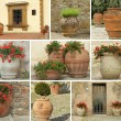 Garden ceramic pottery collage — Stock Photo
