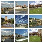 Collage with images of Arno river in Florence — Stock Photo