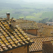 Landscape with roofs of houses in small tuscan town — Stock Photo
