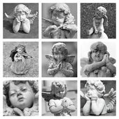 Angelic figurines collage — Stock fotografie