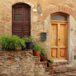 Doorsteps decorated with flowerpots — Stock Photo