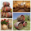 Wine barrels collage — Stock Photo #50305171