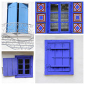 Old  blue painted wooden windows — Stock Photo