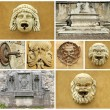 Collage with details of retro fountains in Italy, Europe — Stock Photo #9906988