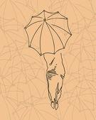 用一把雨伞的女孩的侧面影像. — 图库矢量图片
