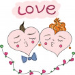 Happy couple of hearts. — Stock Vector #17615389