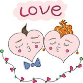 Happy couple of hearts. — Stock Vector