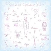 Romantic gentleman set — Stock Vector