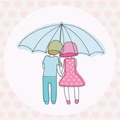 Couple under an umbrella — Stock Vector