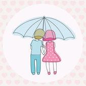 пара под зонтиком — Cтоковый вектор