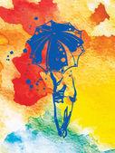 Dziewczyna z parasolem — Wektor stockowy
