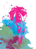 Girl and umbrella. — Stock Vector