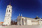 Classical cathedral with tower and crowdy Cathedral square in Vilnius, Lithuania — Stock Photo