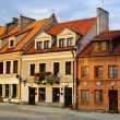 Colorful houses, market square, old town of Sandomierz, Poland - Stock Photo