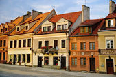 Colorful houses, market square, old town of Sandomierz, Poland — Stock Photo