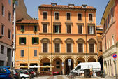 Bologna, Italy - cityscape, old town square with tenement houses — Stock Photo