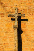 Road chapel - cross in the sunset in France — Stock Photo