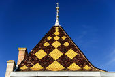 Burgundian tile - roof of the palace in the architectural style of Burgundy, region Beaujolais, France — Stock Photo
