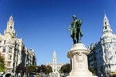 Liberdade square with monument of King Peter IV and Porto city hall, Porto, Portugal — Stock Photo