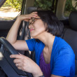 Stressed Woman in Car in Traffic Jam — Stock Photo