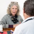 Worried Woman Talking with Her Doctor — Stok fotoğraf