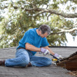 Man Repairing Leaking Roof — Stock Photo