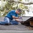 Man Repairing Leaking Roof - Foto Stock