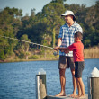 Royalty-Free Stock Photo: Father and Son Fishing on Wooden Pier