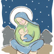 Stock Vector: Virgin Mary and Baby Jesus Illustration