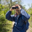 MHiking, Birdwatching and Looking Through Binoculars — Stock Photo #25276085