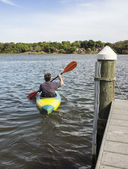 Mature Man Kayaking for Fun and Fitness — Stock Photo