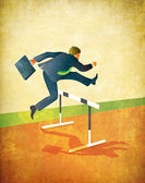 Running Businessman Jumping Track Hurdles Illustration — Stock Photo